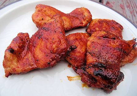 Smoked Honey Glazed Spicy Chicken at oldfatguy.ca