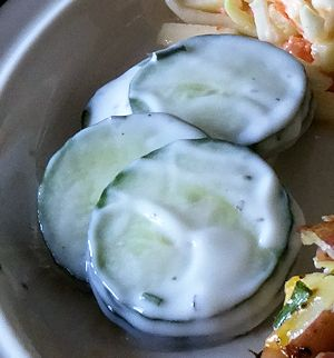 Sliced Cucumber with Chives, Yogurt and Basil at oldfatguy.ca