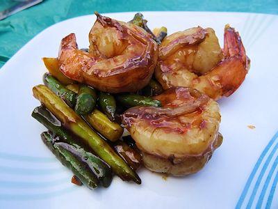 Stir Fried Shrimp and Beans at oldfatguy.ca