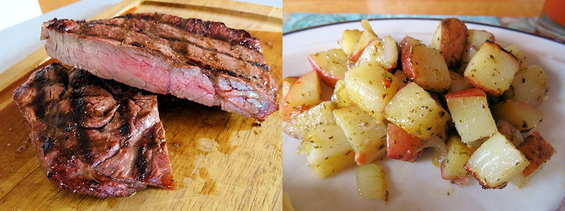 Grilled Steak and Potatoes at oldfatguy.ca